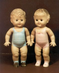 This photograph shows the Tod-L-Tim and Tod-L-Dee rubber dolls created by the Sun Rubber Company of Barberton, Ohio,