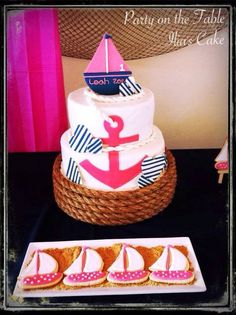 Love this cake from a Nautical Girl Birthday Party! See more party ideas at… Baby 1st Birthday, 1st Birthday Parties, Sailor Birthday, Girl Parties, Birthday Ideas, Nautical Cake, Nautical Party, Baby Shower Marinero, Sailor Party