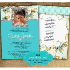gold turquoise quinceanera invitations a