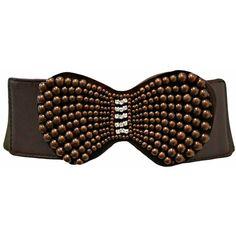 Brown Rhinestone & Pearl Encrusted Elastic Cinch Belt ($13) ❤ liked on Polyvore featuring accessories, belts, brown, corset, rhinestone stretch belt, cinch belt, wide elastic belt, pearl belt and wide stretch belt
