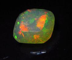 5.72 ct Gem Bright Top Gem Ethiopian Welo Crystal Opal Cushion SQ 13mm Gem #JewelsRoughGems