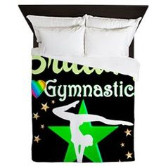 GYMNAST GIRL Queen Duvet Awesome personalized Gymnastics designs available on Tees, Apparel and Gifts. http://www.cafepress.com/sportsstar/10114301 #Gymnastics #Gymnast #WomensGymnastics #Gymnastgift #Lovegymnastics #PersonalizedGymnast
