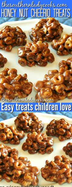Honey nut cheerio treats with peanut butter, chocolate and marshmallows are delicious and children love these. So easy to make and the kids can help. You will have to fight the adults off, too. Recipe Using Cheerios, Recipe Using Honey, Recipe With Honey Nut Cheerios, Nutritious Snacks, Healthy Snacks For Kids, Easy Snacks, Kid Snacks, Honey Recipes, Gourmet Recipes