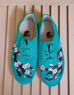 Hand Painted Turquoise Japanese Cherry Blossom Shoes