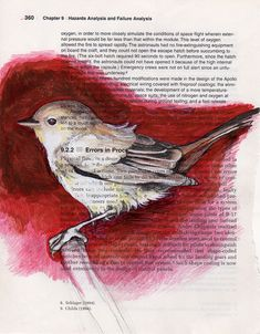 Original pinner sez: I'm not a huge fan of the heavy red halo - but i love the way that the text of the page shows through the body of the bird. - g.