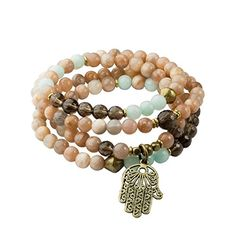 Sunstone, Smoky Quartz, and Amazonite 108 Bead Mala Necklace or Wrap Bracelet with Hamsa Charm *** You can get more details at…