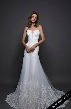 V-Neck A-Line Wedding Dress  with Dropped Waist in Tulle. Bridal Gown Style Number:Trunk Show Only