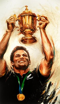 """Oil on canvas painting by deSotogi of 2011 Rugby World Cup winner Richie McCaw entitled """"Back Where it Belongs"""" Rugby Sport, Rugby Men, Duane Vermeulen, Richie Mccaw, Sports Painting, All Blacks Rugby, Silver Fern, New Zealand Art, Nz Art"""