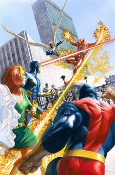 The X-Men vs. Sunfire by Alex Ross from his Marvels Anniversary cover for X-Men Comic Book Characters, Marvel Characters, Comic Character, Comic Books Art, Comic Art, Marvel Movies, Book Art, Alex Ross, Marvel Comics Art