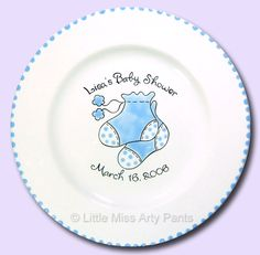 Birth Announcement Plates & Baptism Plates - Little Miss Arty Pants