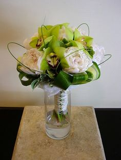 Peony and orchid bouquet