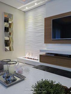 Lareira com funcionamento sustentável decora sala clean. Living Room Decor Tv, Living Room Designs, Bedroom Decor, Tv Unit Decor, Tv Wall Decor, Fireplace Tv Wall, Living Room With Fireplace, Tv Wall Design, House Design