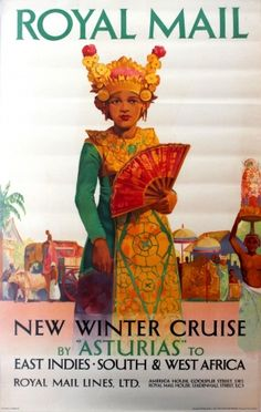 Royal Mail Asturias East Indies South West Africa, 1930s - original vintage poster listed on AntikBar.co.uk