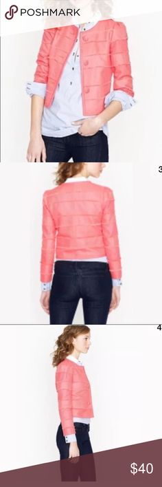 "J Crew Cropped frayed edge jacket coral Sz 0 $148 Gorgeous cropped jacket in ""Neon Rose"" coral color. In excellent condition. Size 0 $148 from j Crew. J. Crew Jackets & Coats Blazers"