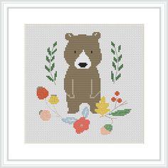 Bear Nursery Baby Cross Stitch Pattern Modern Cross by Xrestyk
