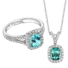A vibrant cushion-cut paraiba tourmaline is framed with 0.39 cts. t.w. Vanilla Diamonds in this 18k white gold ring from Le Vian Couture.   (with matching pendant)