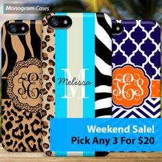 Weekend Sale at -> http://mgramcases.com/pages/vip3 Pick any 3 Monogram Phone Cases for $20. Mix and match for any 3 devices.
