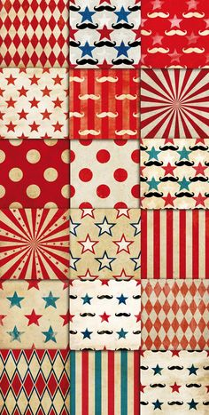 DOWNLOAD via ETSY:Circus Vintage Patterns Digital Paper Pack 01 by DADARTDESIGN Circus Patterns Digital Paper Pack 01 | Wallpapers | backgrounds | scrapbook supplies | clipart | instant download T…