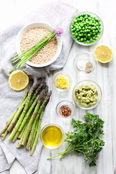 Creamy Farro with Pesto Asparagus and Peas | Vanilla And Bean