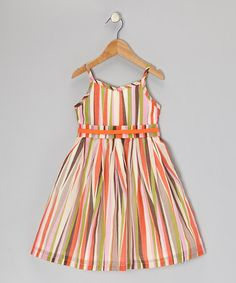 Take a look at this Orange & Lime Stripe A-Line Dress - Infant, Toddler & Girls by Willoughby on #zulily today!