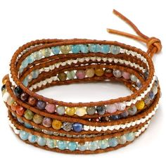 Chan Luu Five Wrap Graduated Leather Bracelet ($210) ❤ liked on Polyvore featuring jewelry, bracelets, accessories, leather bracelet, wrap bracelet, genuine leather bracelet, bracelet jewelry and bracelet bangle