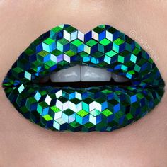 Blue & Green Sequin Cube Lips By Vladamua