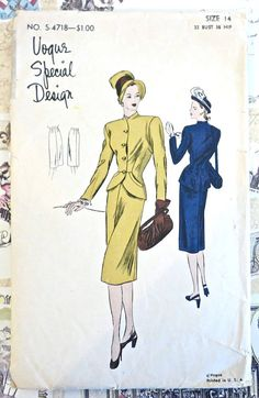 Vogue 4718  Vintage 1940s Suit/Dress Pattern with by Fragolina