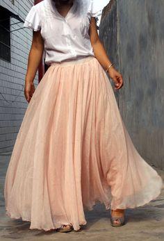 chiffon maxi skirt---------- long skirt pleated skirt golden pink