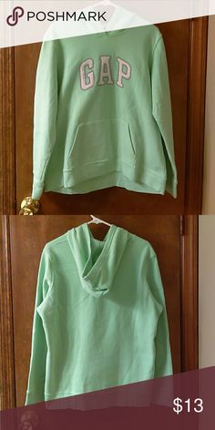 Gap Mint Green Pullover Hoodie XL Gap hoodie that has only been worn a handful of times, in very good condition. Very comfortable and is a decent thickness, definitely good for a cold day or for layering under a vest. GAP Tops Sweatshirts & Hoodies