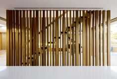 Awesome Wood Stairs with Arange Wood Wall Decor: Awesome Wood Stairs with Arange Wood Wall Decor