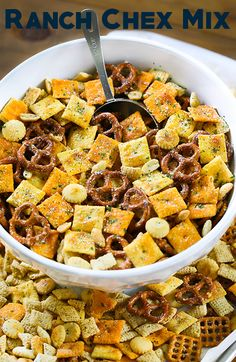 Ranch Chex Mix made for a crowd. My favorite snack mix is loaded with peanuts, cheese crackers, pretzels, and rice cereal. This easy zesty Ranch Chex Mix is perfect for parties and school lunches. Trail Mix Recipes, Snack Mix Recipes, Appetizer Recipes, Cooking Recipes, Appetizers, Snack Mixes, Chex Recipes, Party Recipes, Cooking Time