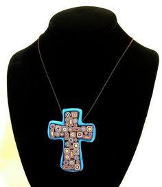 Polymer Clay Cross Necklace. $18.00, via Etsy.