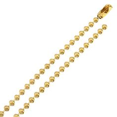 2mm Gold Plated Military Ball Link Bead Chain Necklace - Jewelry For Her