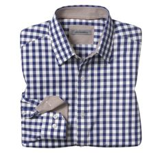 TAILORED FIT FRAMED GINGHAM SHIRTS - White/Navy from Johnston & Murphy  #johnstonmurphy #fallstyle
