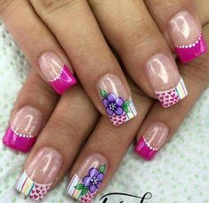 70 Trendy Spring Nail Designs are so perfect for this season Hope they can inspire you and read the article to get the gallery. French Nail Designs, Simple Nail Art Designs, Nail Designs Spring, Perfect Nails, Gorgeous Nails, Pretty Nails, Cute Nail Art, Gel Nail Art, Nail Nail