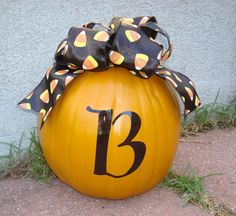 Fall Halloween Pumpkin personalized with ribbon INITIAL Monogram