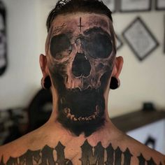 Artist: 💀 ——————————————————————— ⚜️ℱᎾℒℒᎾᏇ⚜️ for daily tattoos! Sharing only the best tattoos in the world ——————————————————————— via Satanic Tattoos, Scary Tattoos, Dope Tattoos, Head Tattoos, Skull Tattoos, Body Art Tattoos, Tatoos, Neck Tattoo For Guys, Tattoos For Guys