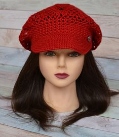 Crochet Brim Cap Beret with a visor Textured Mesh Slouchy Cap all season  Knit Cap for women teens Red different colors for order ffc2eaafd04f