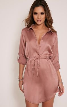 Champagne Satin Twist Front Long Sleeve Blouse Pretty Little Thing Popular Sale Online HtOfje