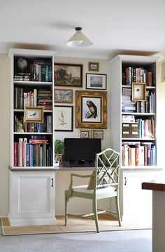 Home Office Also cool to incorporate a desk within the shelves