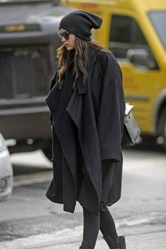 Irina Shayk wearing Hermes Black Kelly Bag, Alexander Wang Beanie, Givenchy Gv Sunglasses, Chanel Black Leather Lace Up Combat Boots and Givenchy Mid-Length Belted Coat Skater Girl Style, Skater Girl Outfits, Combat Boot Outfits, Lace Up Combat Boots, Irina Shayk Style, Celebrity Maternity Style, Celebrity Style, Cashmere Beanie, Just Style