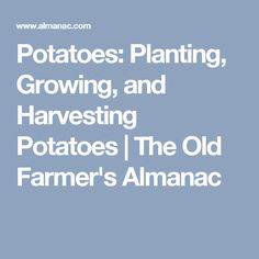 Potatoes: Planting, Growing, and Harvesting Potatoes   The Old Farmer's Almanac