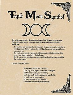 Book of Shadows page - Triple Moon Symbol  Goddess Chant