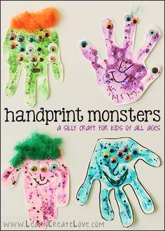 Handprint Monsters Craft | LearnCreateLove.com