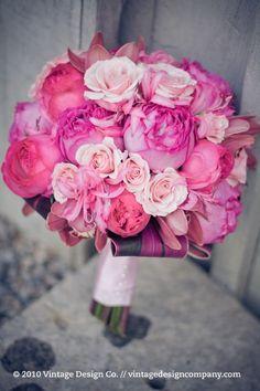 pink amaranth fuchsia wedding bouquet flowers