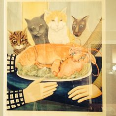 My favorite painting by Beryl Cook--from Plymouth England, kitty cats and a lobster, now that's my kind of humor. Plymouth England, Beryl Cook, Kitty Cats, Humor, My Favorite Things, Painting, Art, Art Background, Kittens
