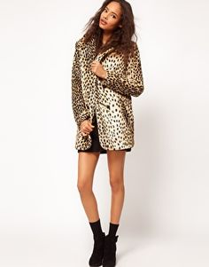 ASOS Coat in Leopard with Button Front - $61.57