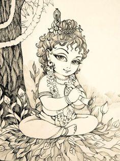Android Wallpaper - Lord Krishna HD Photos for Whatsapp - Arte Krishna, Bal Krishna, Krishna Drawing, Krishna Painting, Lord Krishna Sketch, Radha Krishna Sketch, Sketch Painting, Mural Painting, Cool Art Drawings