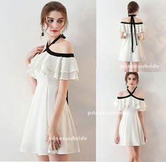 Chic Homecoming Dress Halter Flouncing A-line Chiffon Short Prom Dress – Princesssbride   #promdresses #fashion #shopping #dresses #eveningdresses