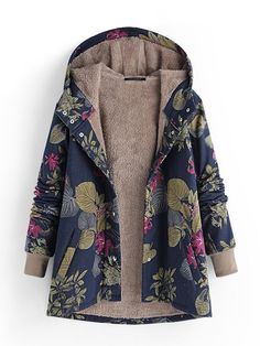 Gracila Patchwork Leaves Print Hooded Long Sleeve Vintage Coat is hot sale on Newchic,here women Coats & Jackets with unbelievable discounts Mobile. Coats For Women, Jackets For Women, Outfits Plus Size, Long Winter Coats, Fall Coats, Long Coats, Faux Fur Hooded Coat, Hooded Jacket, Leopard Print Coat